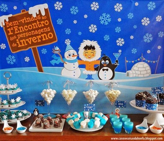 Caprichada decoração para Festa de Inverno da Bonfa